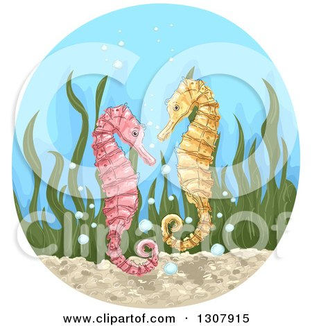 Clipart of Sketched Pink and Yellow Seahorses with Seaweed and Bubbles in a Circle - Royalty Free Vector Illustration by BNP Design Studio