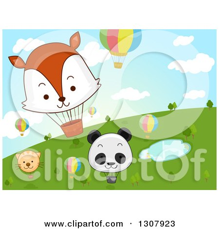 Clipart of Cartoon Hot Air Balloons with Animal Faces over a Pond and Hill - Royalty Free Vector Illustration by BNP Design Studio