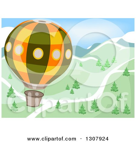 Clipart of a Hot Air Balloon Flying over a Road and Mountains with Trees - Royalty Free Vector Illustration by BNP Design Studio