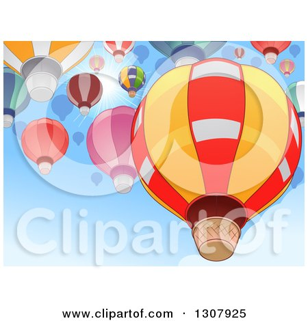 Clipart of Hot Air Balloons Flying in a Blue Sky Against a Sun Burst - Royalty Free Vector Illustration by BNP Design Studio