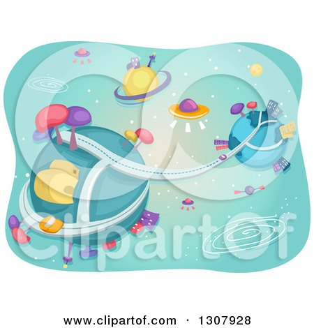 Clipart of a Futuristic Alien City with Flying Saucers and Planets - Royalty Free Vector Illustration by BNP Design Studio