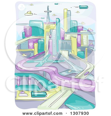 Clipart of a Sketched Futuristic City with Flying Vehicles and Highways - Royalty Free Vector Illustration by BNP Design Studio