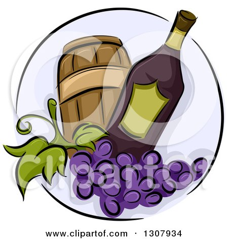 Clipart of a Wine Bottle with Purple Grapes and a Barrel in a Circle - Royalty Free Vector Illustration by BNP Design Studio