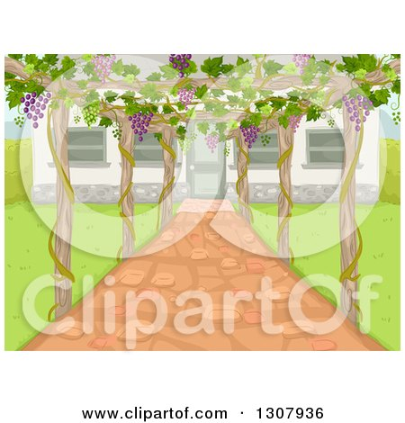 Clipart of a Trellis with Grapes over a Patio by a House - Royalty Free Vector Illustration by BNP Design Studio