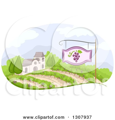 Clipart of a Winery Building and Vineyard with a Sign - Royalty Free Vector Illustration by BNP Design Studio