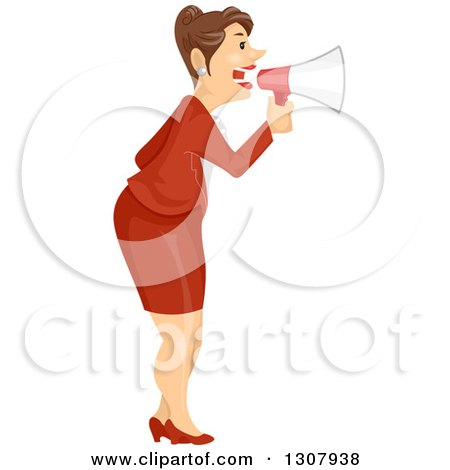 Clipart of a Brunette Caucasian Business Woman Announcing with a Megaphone - Royalty Free Vector Illustration by BNP Design Studio
