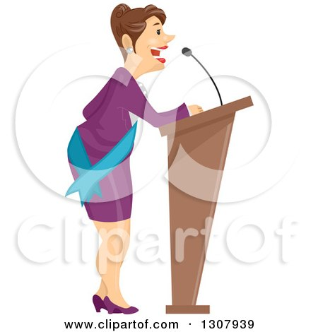 Brunette White Business Woman or Politician Speaking at a Podium Posters, Art Prints