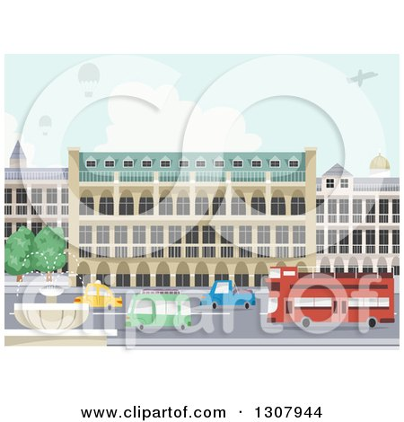 Clipart of a Street with a Water Fountain, Urban Buildings, Hot Air Balloons and a Plane - Royalty Free Vector Illustration by BNP Design Studio