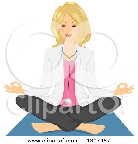 Clipart of a Relaxed Blond White Female Doctor Doing Yoga and Meditating - Royalty Free Vector Illustration by BNP Design Studio