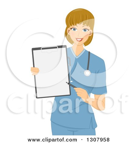 Clipart of a Friendly Dirty Blond White Female Doctor or Nurse in Blue Scrubs, Pointing to a Blank Clipboard - Royalty Free Vector Illustration by BNP Design Studio