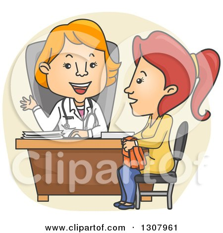 Clipart of a Cartoon White Female Doctor Speaking with a Patient - Royalty Free Vector Illustration by BNP Design Studio