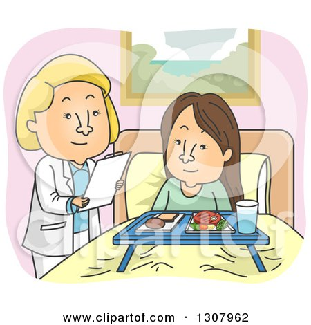 Clipart of a Cartoon White Female Doctor or Nutritionist Going over Meals with a Patient - Royalty Free Vector Illustration by BNP Design Studio