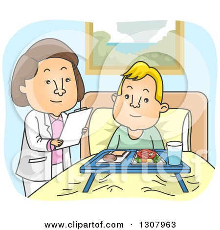 Clipart of a Cartoon White Female Doctor or Nutritionist Going over Meals with a Male Patient - Royalty Free Vector Illustration by BNP Design Studio