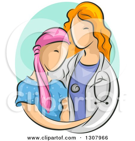 Clipart of a Sketched Red Haired White Female Doctor Caring for a Young Cancer Patient - Royalty Free Vector Illustration by BNP Design Studio