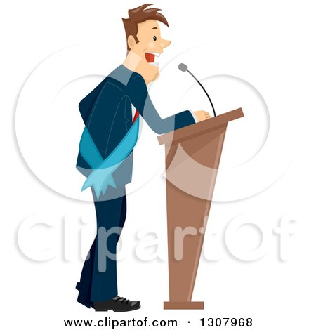 Clipart of a Brunette White Business Man or Politician Wearing a Sash and Giving a Speech - Royalty Free Vector Illustration by BNP Design Studio