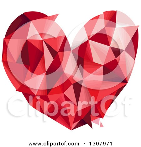 Clipart of a Geometric Red Love Heart - Royalty Free Vector Illustration by BNP Design Studio