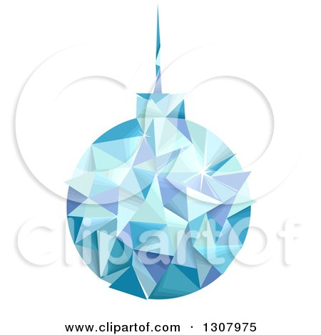 Clipart of a Geometric Blue Christmas Bauble Hanging - Royalty Free Vector Illustration by BNP Design Studio