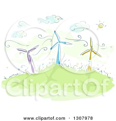 Clipart of a Sketch of Colorful Windmills on a Hill on a Sunny Day - Royalty Free Vector Illustration by BNP Design Studio