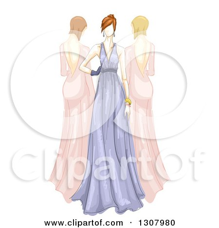 Clipart of Sketched Female Models in Long Pink and Purple Gowns - Royalty Free Vector Illustration by BNP Design Studio