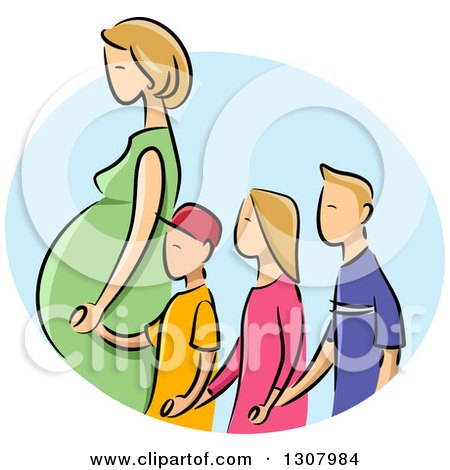 Sketched Blond White Pregnant Mother Holding Hands and Walking with Three Children in a Blue Oval Posters, Art Prints