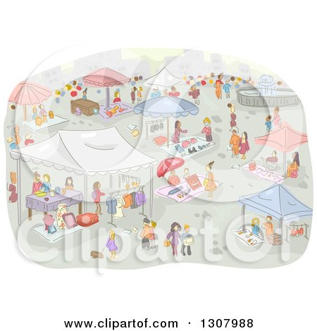 Clipart of a Sketch of a Flea Market with People - Royalty Free ...
