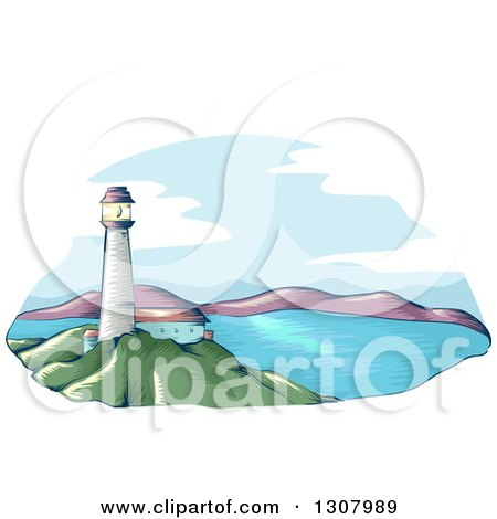 Clipart of a Sketched Lighthouse over a Bay - Royalty Free Vector Illustration by BNP Design Studio