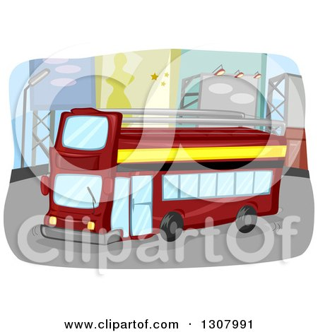 Clipart of a Red Double Decker Bus Driving down a Street with Billboards - Royalty Free Vector Illustration by BNP Design Studio