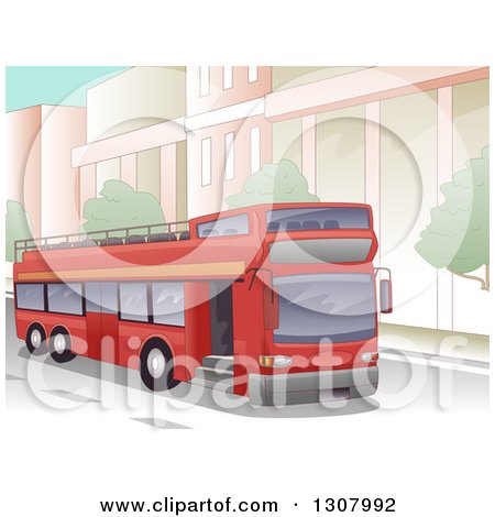 Clipart of a Red Open Top Double Decker Bus Driving in a City - Royalty Free Vector Illustration by BNP Design Studio