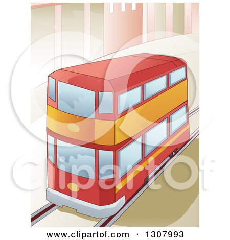 Clipart of a Red Double Decker Bus Driving in a City - Royalty Free Vector Illustration by BNP Design Studio