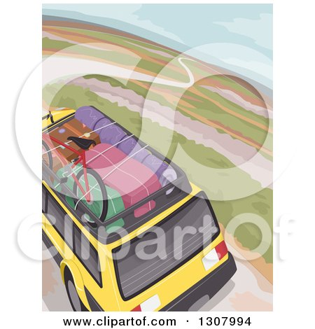 Clipart of an Aerial View of Luggage on a Rack of a Yellow SUV on a Road Trip - Royalty Free Vector Illustration by BNP Design Studio