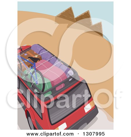 Clipart of an Aerial View of Luggage on a Rack of a Red SUV on a Road Trip to the Egyptian Pyramids - Royalty Free Vector Illustration by BNP Design Studio