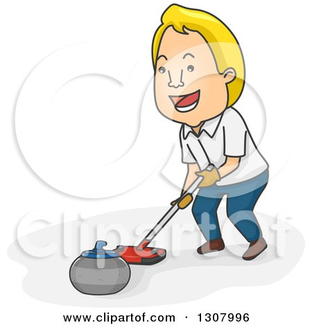 Clipart of a Cartoon Blond White Man Pushing a Curling Stone with a Broom - Royalty Free Vector Illustration by BNP Design Studio