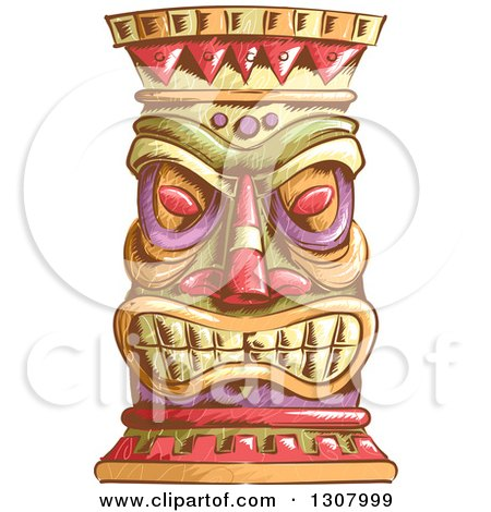 Clipart of a Sketched Tiki Head - Royalty Free Vector Illustration by BNP Design Studio