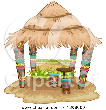 Clipart of a Tiki Hut with Stools and a Table - Royalty Free Vector Illustration by BNP Design Studio