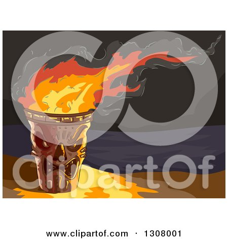 Clipart of a Lit Tiki Torch on a Beach at Night - Royalty Free Vector Illustration by BNP Design Studio