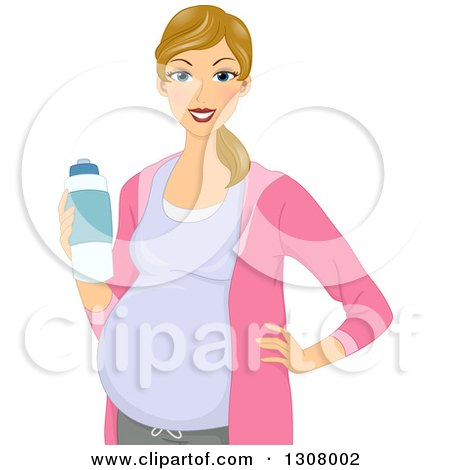 Clipart of a Happy Dirty Blond White Pregnant Woman Holding a Water Bottle - Royalty Free Vector Illustration by BNP Design Studio