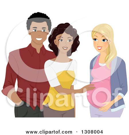 Clipart of a Happy Black Couple Congratulating a White Pregnant Friend - Royalty Free Vector Illustration by BNP Design Studio
