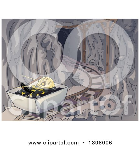 Clipart of a Dark Mining Tunnel with Coal, a Pickaxe and Helmet in a Cart - Royalty Free Vector Illustration by BNP Design Studio