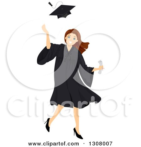 Clipart of a Brunette White High School Graduate Girl Tossing up Her Cap - Royalty Free Vector Illustration by BNP Design Studio