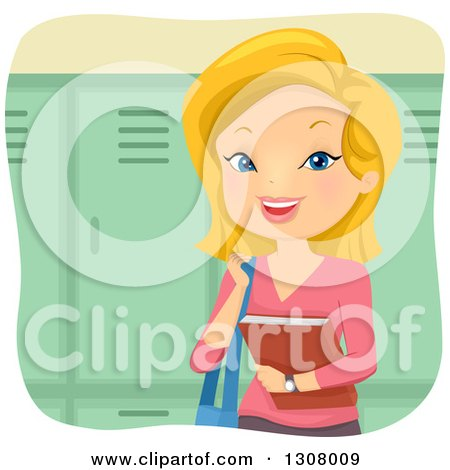 Happy Blond White Female College Student Holding a Book by Lockers Posters, Art Prints