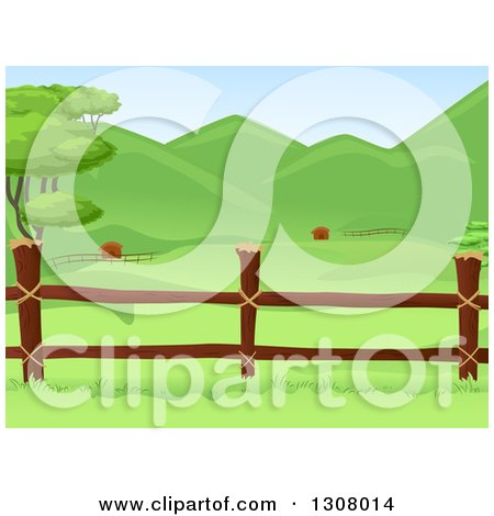 Clipart of a Wooden Farm Pasture Fence with Lush Green Hills in the Background - Royalty Free Vector Illustration by BNP Design Studio