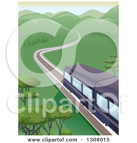 Clipart of a Trail Traveling Towards Mountains Through a Valley - Royalty Free Vector Illustration by BNP Design Studio