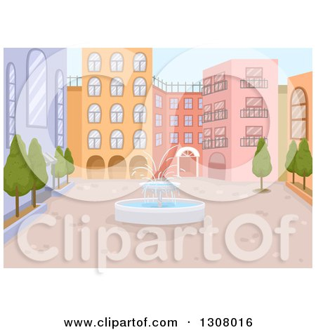 Water Fountain in the Middle of a Courtyard Posters, Art Prints