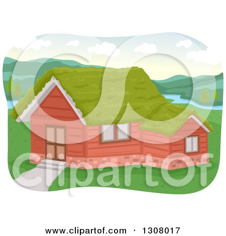 Clipart of a House with a Grassy Green Sod Roof on a River - Royalty Free Vector Illustration by BNP Design Studio