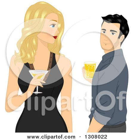 Clipart of a Blond White Woman Holding a Cocktail and Looking Back at a Handsome Man - Royalty Free Vector Illustration by BNP Design Studio