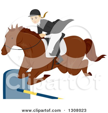 Clipart of a Young White Female Equestrian Leaping a Horse over a Bar - Royalty Free Vector Illustration by BNP Design Studio
