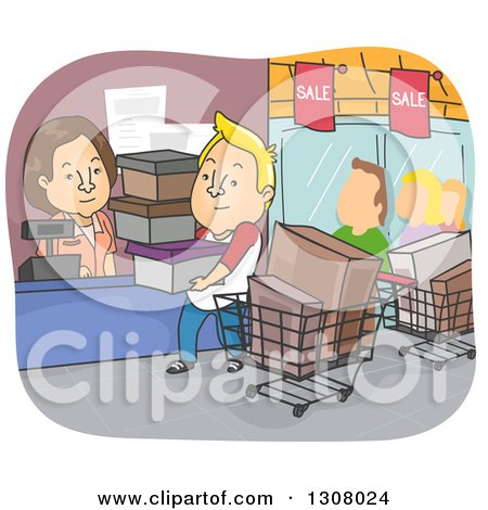 Clipart of a Cartoon Blond White Man on a Shopping Spree - Royalty Free Vector Illustration by BNP Design Studio