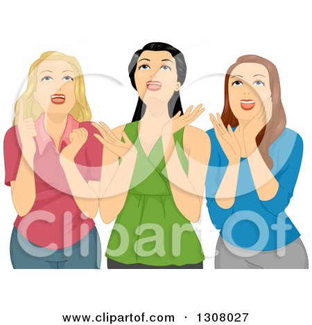 Clipart of Three Excited Teenage Girls Gawking Upwards - Royalty Free Vector Illustration by BNP Design Studio