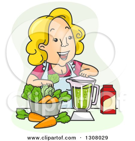 Clipart of a Cartoon Blond Happy White Woman Making a Vegetable Smoothie - Royalty Free Vector Illustration by BNP Design Studio