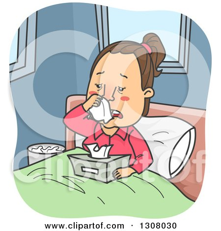 Clipart of a Cartoon Sick Brunette White Woman Sneezing in Bed - Royalty Free Vector Illustration by BNP Design Studio